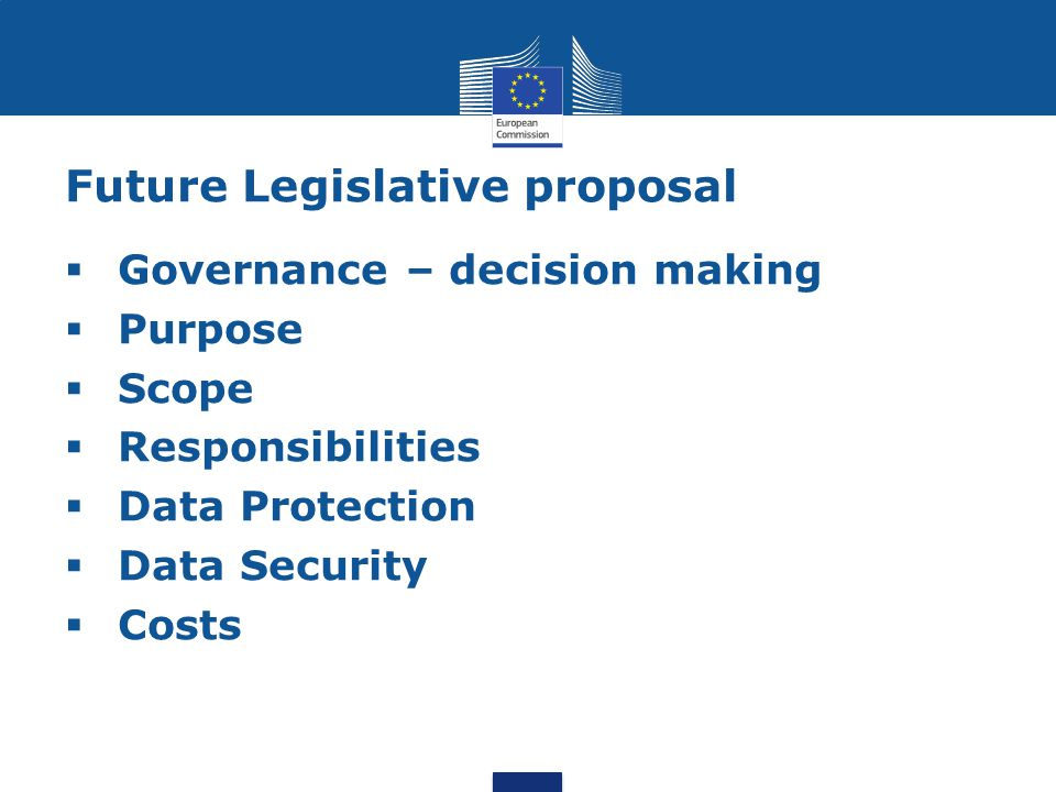 Future Legislative proposal  Governance – decision making  Purpose  Scope  Responsibilities  Data Protection  Data Security  Costs