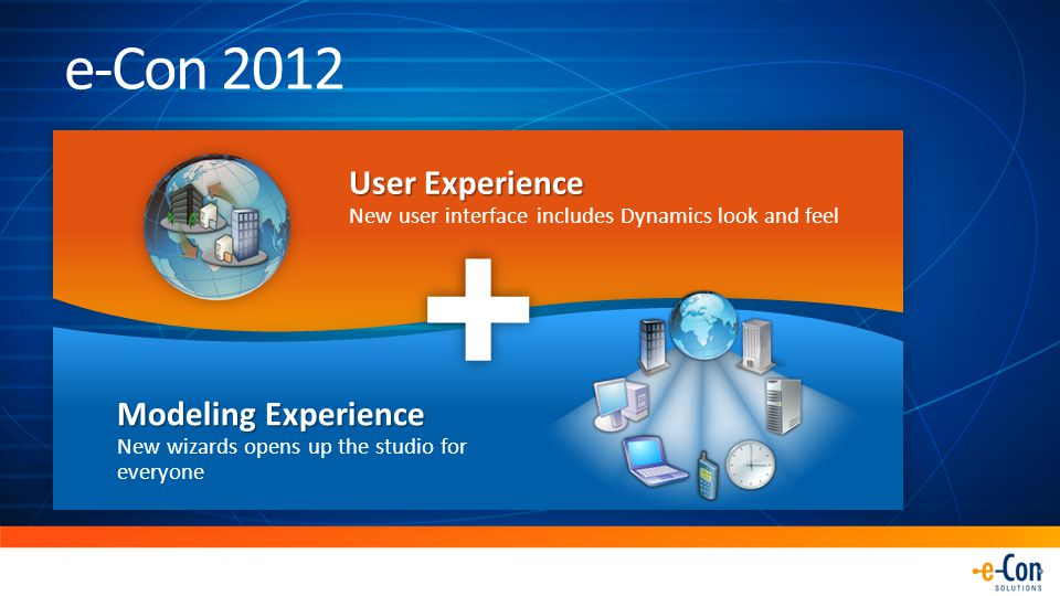 User Experience New user interface includes Dynamics look and feel Modeling Experience Modeling Experience New wizards opens up the studio for everyone e-Con 2012 +