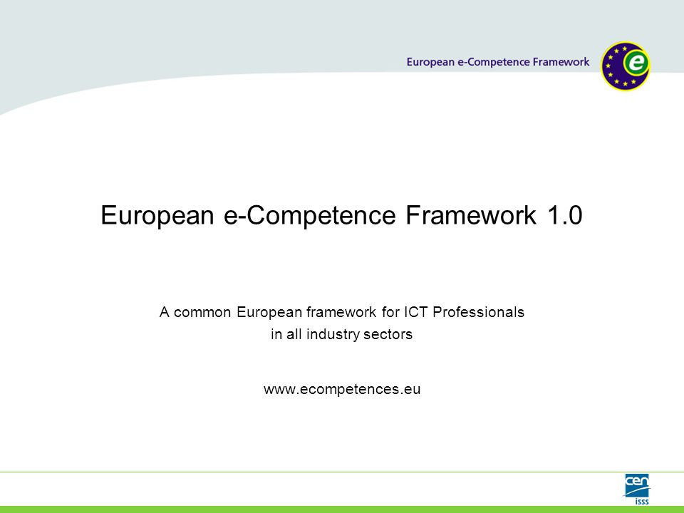 www.ecompetences.eu 2 Summary  European e-Competence Framework - an overview  Multistakeholder cooperation  e-CF aims and benefits  Framework underpinning methodology  e-competence examples  User guidelines and e-CF application examples  Links to further information