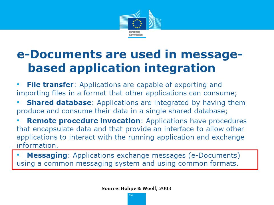 e-Documents are used in message- based application integration File transfer: Applications are capable of exporting and importing files in a format that other applications can consume; Shared database: Applications are integrated by having them produce and consume their data in a single shared database; Remote procedure invocation: Applications have procedures that encapsulate data and that provide an interface to allow other applications to interact with the running application and exchange information.