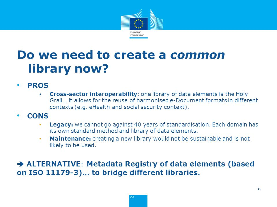 Do we need to create a common library now? PROS Cross-sector interoperability: one library of data elements is the Holy Grail… it allows for the reuse