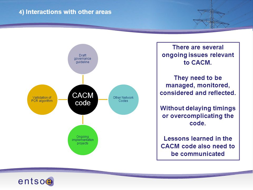 4 ) Interactions with other areas CACM code Draft governance guideline Other Network Codes Ongoing implementation projects Vallidation of PCR algorithm There are several ongoing issues relevant to CACM.