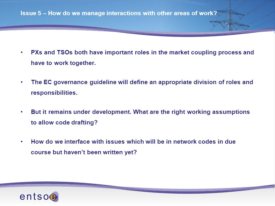 Issue 5 – How do we manage interactions with other areas of work.