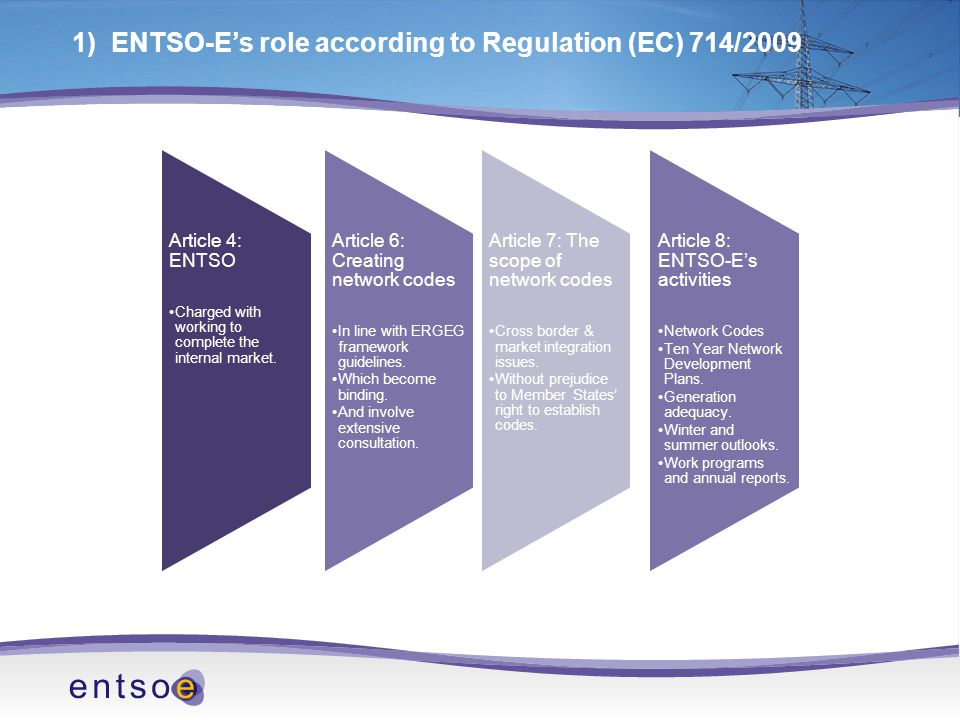 ENTSO-E Internal Working Structure The 12 month timescale will be challenging.
