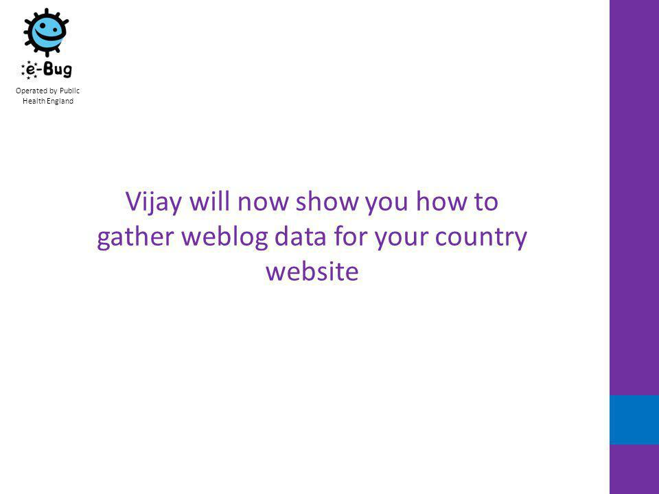 Operated by Public Health England Vijay will now show you how to gather weblog data for your country website