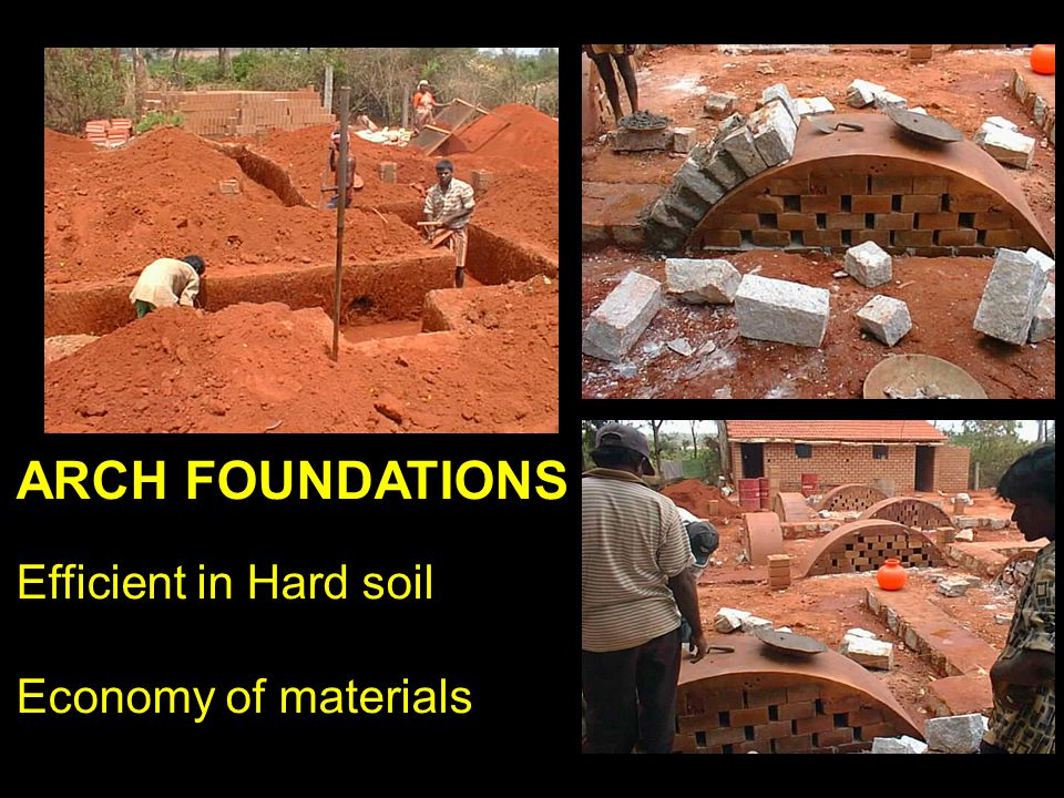ARCH FOUNDATIONS Efficient in Hard soil Economy of materials - LABOUR ORIENTED