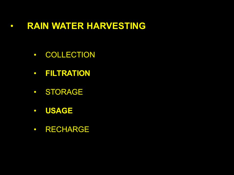 RAIN WATER HARVESTING COLLECTION FILTRATION STORAGE USAGE RECHARGE Source: www.rainwaterclub.org