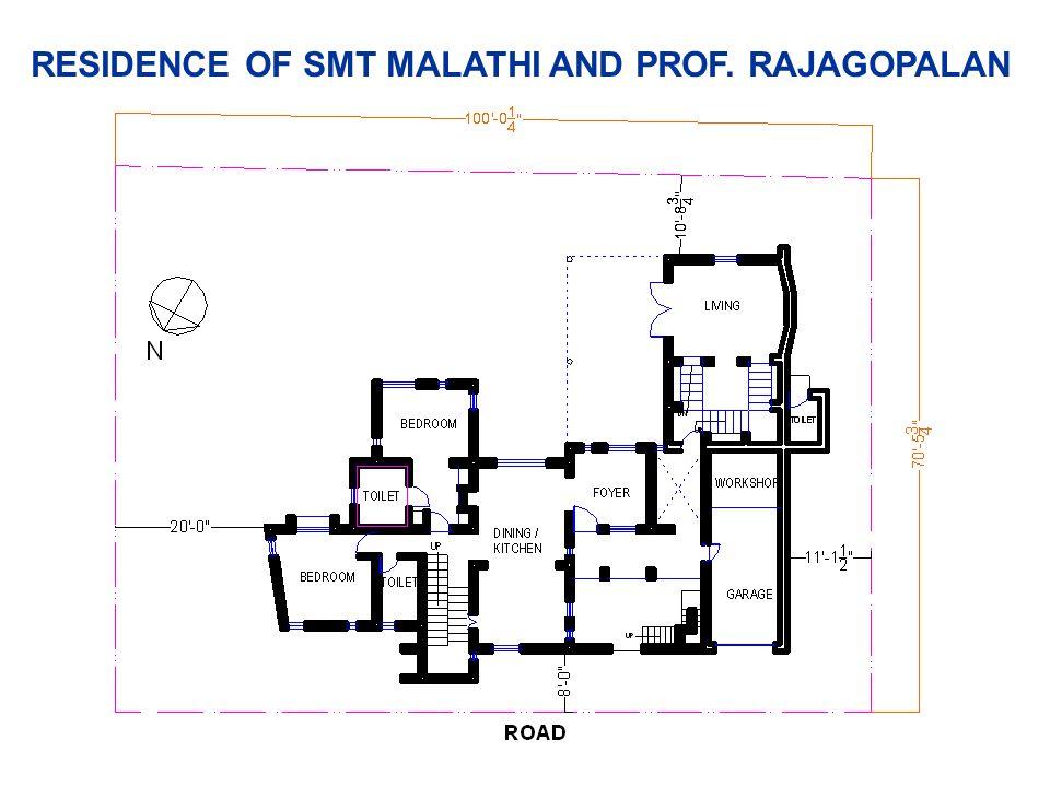 RESIDENCE OF SMT MALATHI AND PROF. RAJAGOPALAN