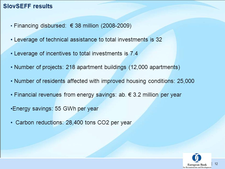 | 12 SlovSEFF results Financing disbursed: € 38 million (2008-2009) Leverage of technical assistance to total investments is 32 Leverage of incentives to total investments is 7.4 Number of projects: 218 apartment buildings (12,000 apartments) Number of residents affected with improved housing conditions: 25,000 Financial revenues from energy savings: ab.