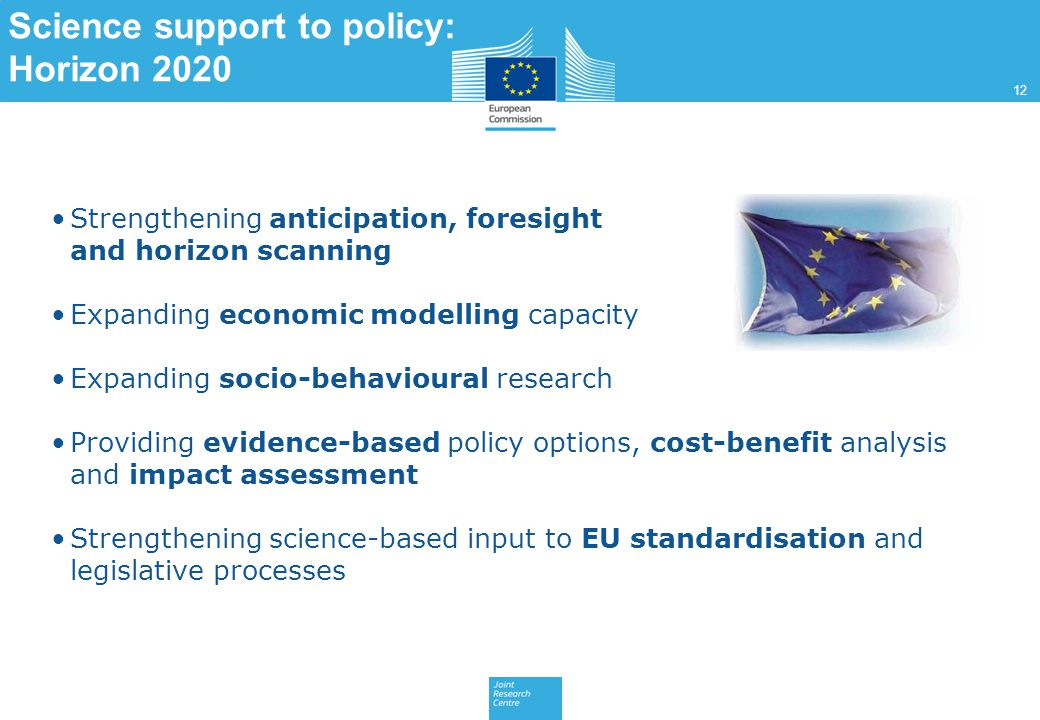 Science support to policy: Horizon 2020 Strengthening anticipation, foresight and horizon scanning Expanding economic modelling capacity Expanding socio-behavioural research Providing evidence-based policy options, cost-benefit analysis and impact assessment Strengthening science-based input to EU standardisation and legislative processes 12