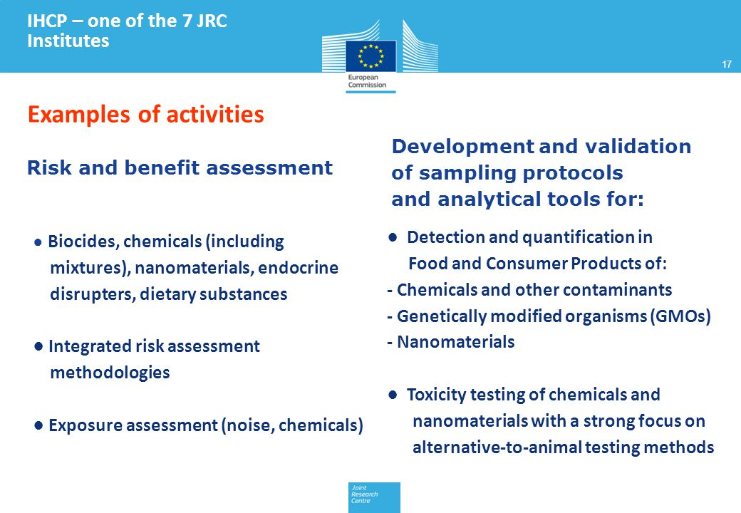 17 Risk and benefit assessment ● Biocides, chemicals (including mixtures), nanomaterials, endocrine disrupters, dietary substances ● Integrated risk assessment methodologies ● Exposure assessment (noise, chemicals) Development and validation of sampling protocols and analytical tools for: ● Detection and quantification in Food and Consumer Products of: - Chemicals and other contaminants - Genetically modified organisms (GMOs) - Nanomaterials ● Toxicity testing of chemicals and nanomaterials with a strong focus on alternative-to-animal testing methods IHCP – one of the 7 JRC Institutes Examples of activities 17
