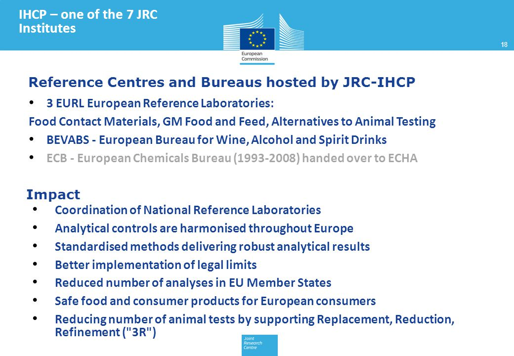 Reference Centres and Bureaus hosted by JRC-IHCP Coordination of National Reference Laboratories Analytical controls are harmonised throughout Europe Standardised methods delivering robust analytical results Better implementation of legal limits Reduced number of analyses in EU Member States Safe food and consumer products for European consumers Reducing number of animal tests by supporting Replacement, Reduction, Refinement ( 3R ) 3 EURL European Reference Laboratories: Food Contact Materials, GM Food and Feed, Alternatives to Animal Testing BEVABS - European Bureau for Wine, Alcohol and Spirit Drinks ECB - European Chemicals Bureau (1993-2008) handed over to ECHA Impact IHCP – one of the 7 JRC Institutes 18