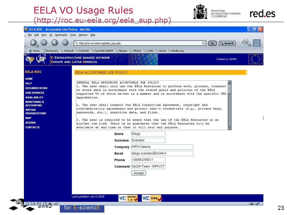 23 EELA VO Usage Rules (http://roc.eu-eela.org/eela_aup.php)