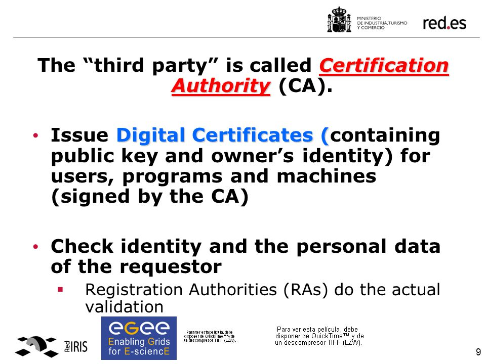 9 Certification Authority The third party is called Certification Authority (CA).