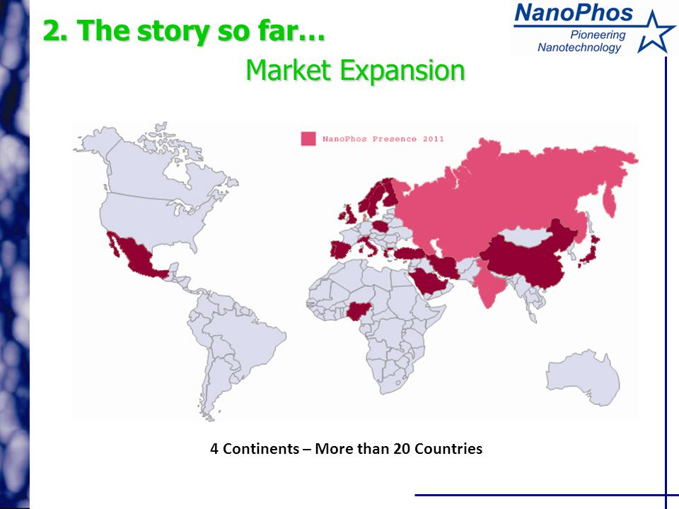 2. The story so far… Market Expansion 4 Continents – More than 20 Countries