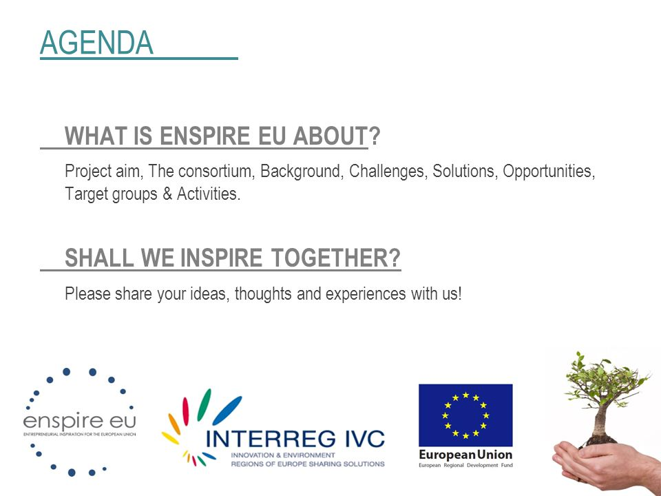 AGENDA WHAT IS ENSPIRE EU ABOUT? Project aim, The consortium, Background, Challenges, Solutions, Opportunities, Target groups & Activities. SHALL WE I
