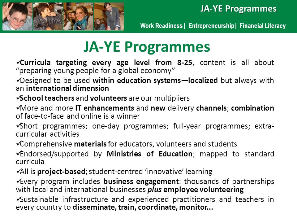 Work Readiness | Entrepreneurship | Financial Literacy JA-YE Programmes