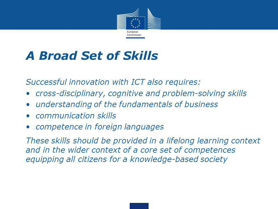 A Broad Set of Skills Successful innovation with ICT also requires: cross-disciplinary, cognitive and problem-solving skills understanding of the fundamentals of business communication skills competence in foreign languages These skills should be provided in a lifelong learning context and in the wider context of a core set of competences equipping all citizens for a knowledge-based society