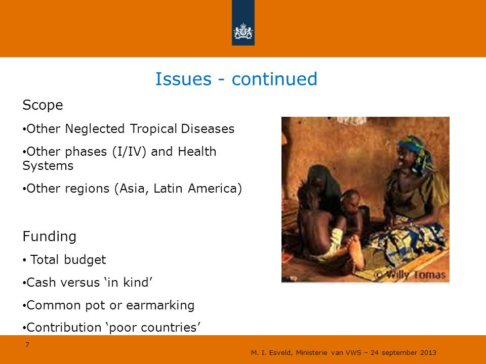 7 Issues - continued Scope Other Neglected Tropical Diseases Other phases (I/IV) and Health Systems Other regions (Asia, Latin America) Funding Total budget Cash versus 'in kind' Common pot or earmarking Contribution 'poor countries' M.
