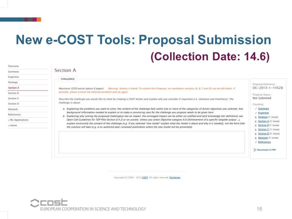 16 New e-COST Tools: Proposal Submission (Collection Date: 14.6)