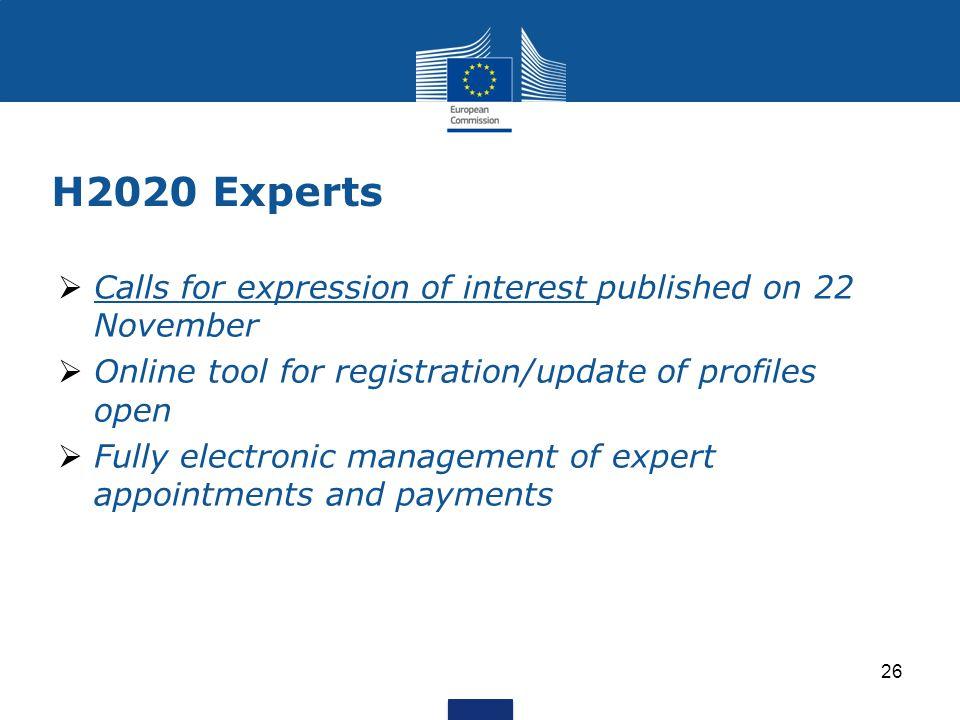 H2020 Experts  Calls for expression of interest published on 22 November Calls for expression of interest  Online tool for registration/update of pr