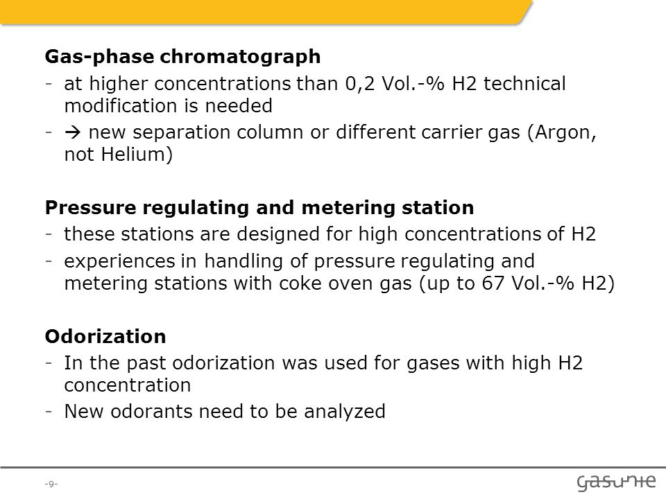 Gas-phase chromatograph -at higher concentrations than 0,2 Vol.-% H2 technical modification is needed -  new separation column or different carrier g