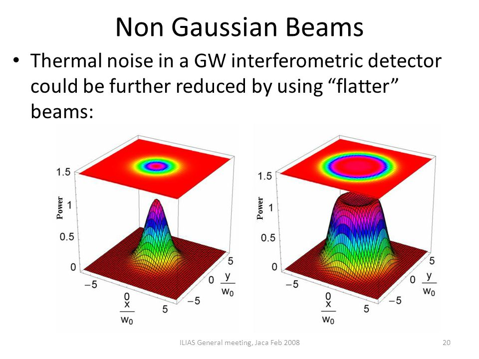 """Non Gaussian Beams Thermal noise in a GW interferometric detector could be further reduced by using """"flatter"""" beams: ILIAS General meeting, Jaca Feb 2"""