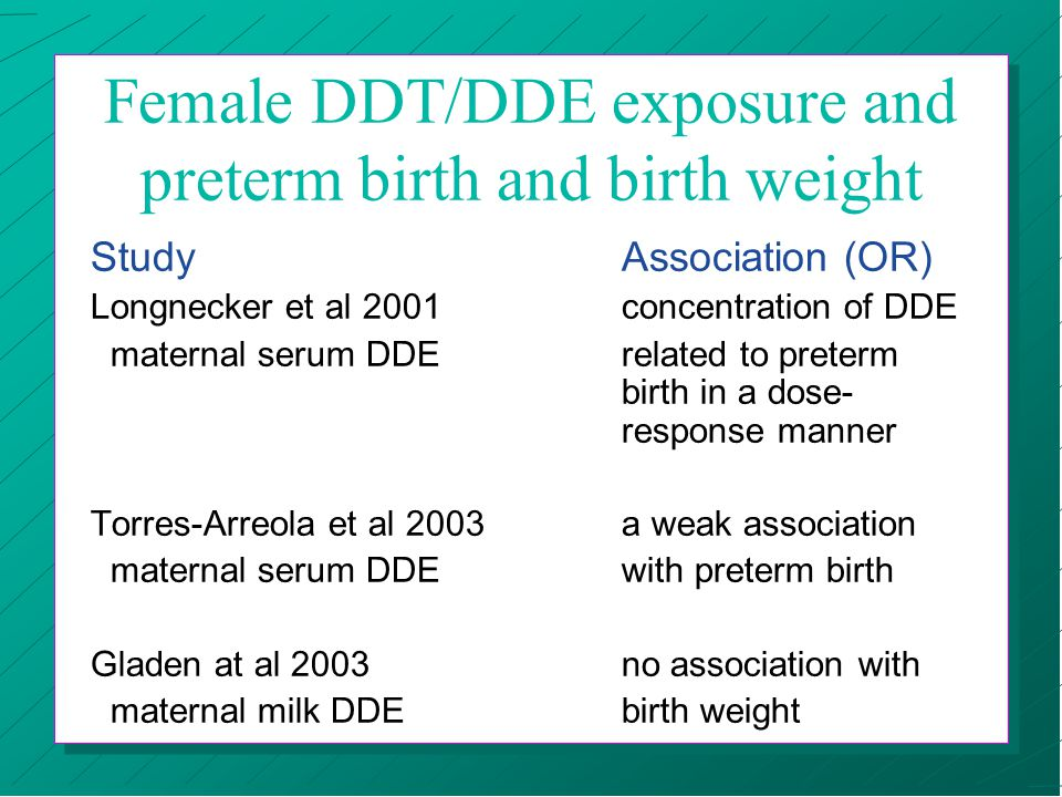 Female DDT/DDE exposure and preterm birth and birth weight StudyAssociation (OR) Longnecker et al 2001concentration of DDE maternal serum DDErelated t