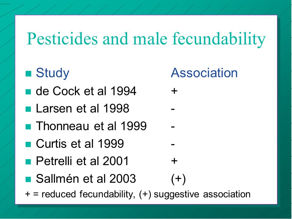 Pesticides and couples undergoing IVF treatment (Tielemans et al) n Reduced fertilization capacity n Improved implantation rate n Summary effect ?