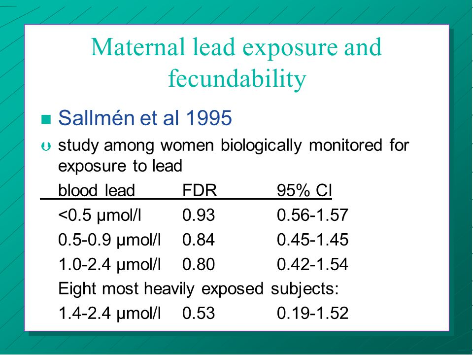 Maternal lead exposure and fecundability n Sallmén et al 1995 Þ study among women biologically monitored for exposure to lead blood leadFDR95% CI <0.5 µmol/l0.930.56-1.57 0.5-0.9 µmol/l0.840.45-1.45 1.0-2.4 µmol/l0.800.42-1.54 Eight most heavily exposed subjects: 1.4-2.4 µmol/l0.530.19-1.52