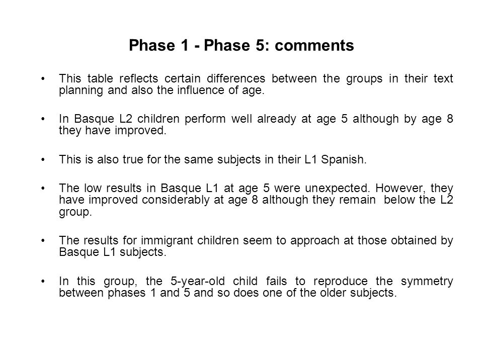 Phase 1 - Phase 5: comments This table reflects certain differences between the groups in their text planning and also the influence of age.