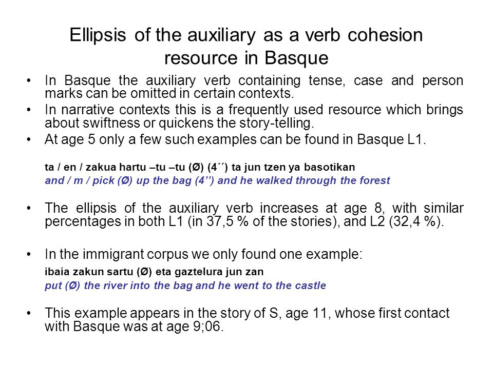 Ellipsis of the auxiliary as a verb cohesion resource in Basque In Basque the auxiliary verb containing tense, case and person marks can be omitted in