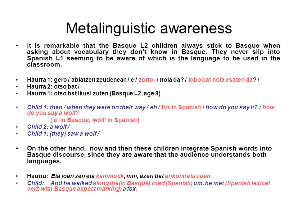 Metalinguistic awareness It is remarkable that the Basque L2 children always stick to Basque when asking about vocabulary they don't know in Basque. T