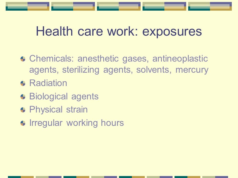 Ethylene oxide and adverse pregnancy outcome Used as a sterilant in hospitals, and in medical and dental offices Mutagenic, teratogenic and carcinogenic agent Increased risk of spontaneous abortion in exposed hospital sterilising staff and dental assistants Increased risk of preterm and postterm birth Exposure should be avoided