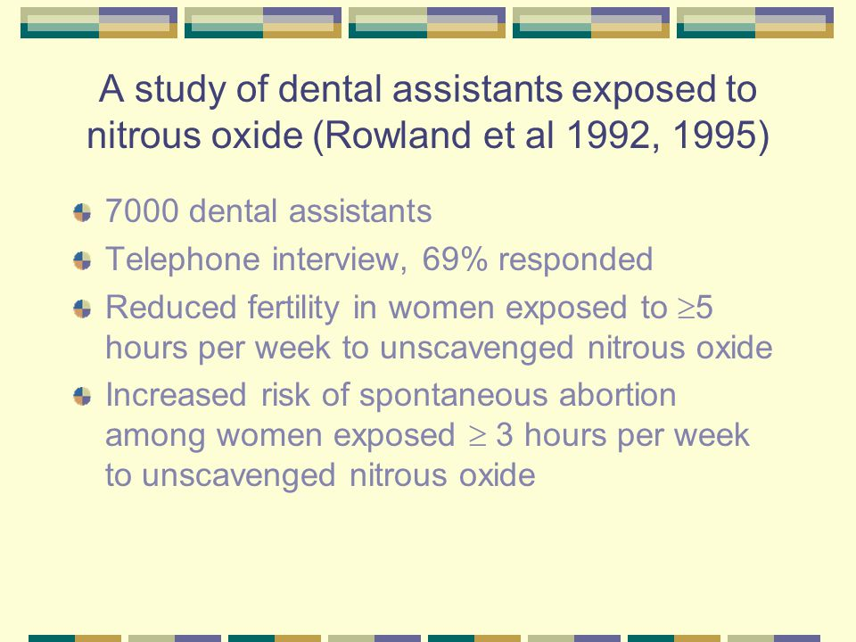 A study of midwives exposed to nitrous oxide (Ahlborg et al 1996, Bodin et al 1999) 3985 midwives A mailed questionnaire, 84% responded Reduced fertility in women assisting >30 deliveries/month (FR 0.63, 95%CI 0.43 – 0.94) No increased risk of spontaneous abortion Reduced birth weight (-77 gm, 95%CI –129,-24) and increased risk of infants being small for gestational age (OR 1.8, 95%CI 1.1 – 2.8)