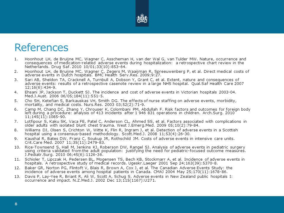 References 1.Hoonhout LH, de Bruijne MC, Wagner C, Asscheman H, van der Wal G, van Tulder MW. Nature, occurrence and consequences of medication-relate