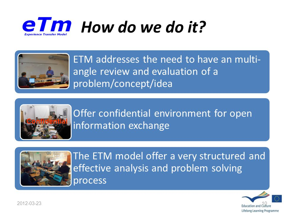 How do we do it? ETM addresses the need to have an multi- angle review and evaluation of a problem/concept/idea Offer confidential environment for ope