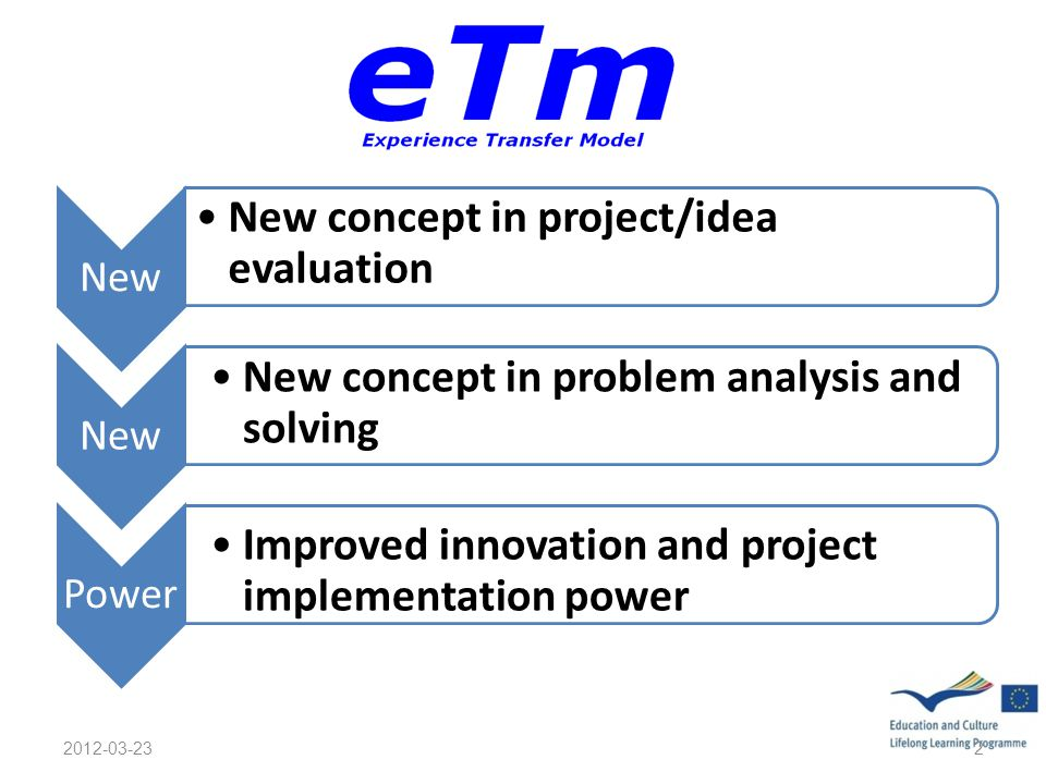 New New concept in project/idea evaluation New New concept in problem analysis and solving Power Improved innovation and project implementation power 2012-03-232