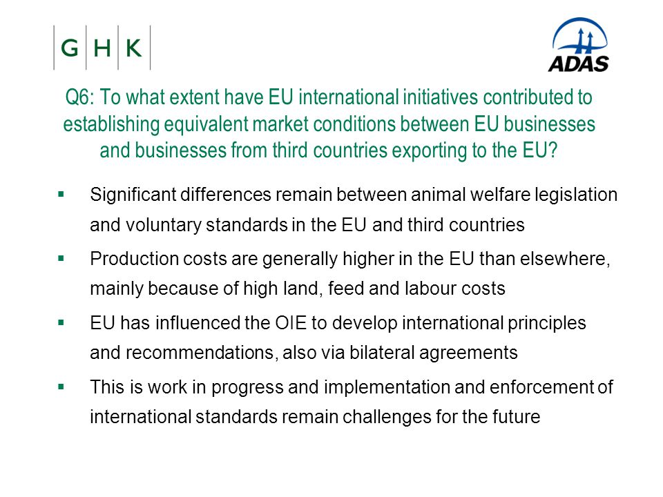 Q6: To what extent have EU international initiatives contributed to establishing equivalent market conditions between EU businesses and businesses fro