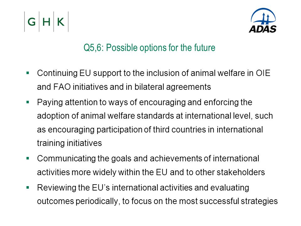 Q5,6: Possible options for the future  Continuing EU support to the inclusion of animal welfare in OIE and FAO initiatives and in bilateral agreement