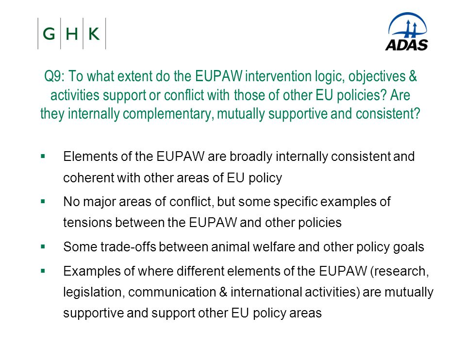 Q9: To what extent do the EUPAW intervention logic, objectives & activities support or conflict with those of other EU policies? Are they internally c