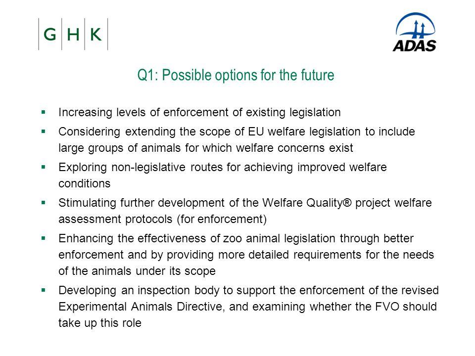 Q1: Possible options for the future  Increasing levels of enforcement of existing legislation  Considering extending the scope of EU welfare legisla