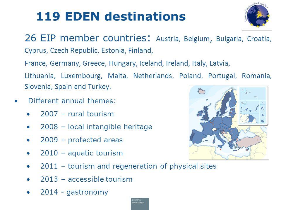 119 EDEN destinations 26 EIP member countries : Austria, Belgium, Bulgaria, Croatia, Cyprus, Czech Republic, Estonia, Finland, France, Germany, Greece, Hungary, Iceland, Ireland, Italy, Latvia, Lithuania, Luxembourg, Malta, Netherlands, Poland, Portugal, Romania, Slovenia, Spain and Turkey.