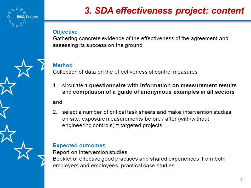 4 Objective Gathering concrete evidence of the effectiveness of the agreement and assessing its success on the ground Method Collection of data on the effectiveness of control measures 1.circulate a questionnaire with information on measurement results and compilation of a guide of anonymous examples in all sectors and 2.select a number of critical task sheets and make intervention studies on site: exposure measurements before / after (with/without engineering controls) = targeted projects Expected outcomes Report on intervention studies; Booklet of effective good practices and shared experiences, from both employers and employees, practical case studies 3.