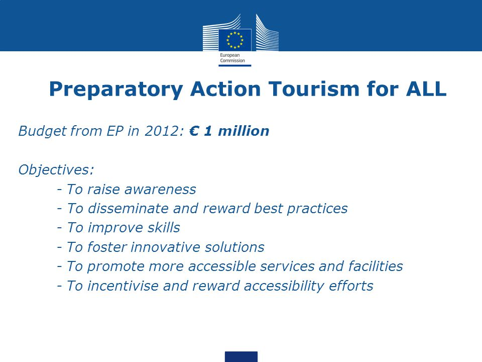 1-Mapping the demand of accessible tourism  48% of disabled tourists in Germany would travel more often if services were more accessible  £2 billion is the contribution of disabled travellers to the domestic visitor economy in UK (2009) Fragmented data for EU-27 1) Economic impulse on tourism 2) Demand and travel patterns of people with special access needs