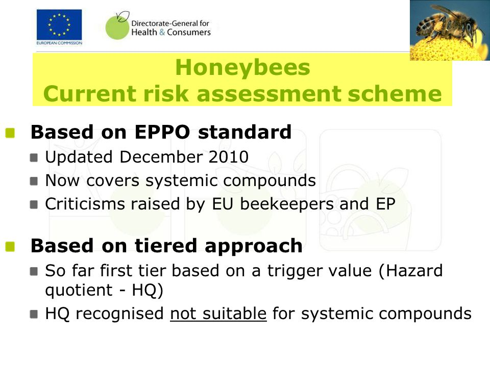 Honeybees Current data requirements Active substances Acute toxicity test(laboratory) Bee brood (honeybee larvae)(lab/semi-field) Plant protection products Acute toxicity test(laboratory) Residue test(laboratory) Cage/tunnel test (semi-field) Field test (field)