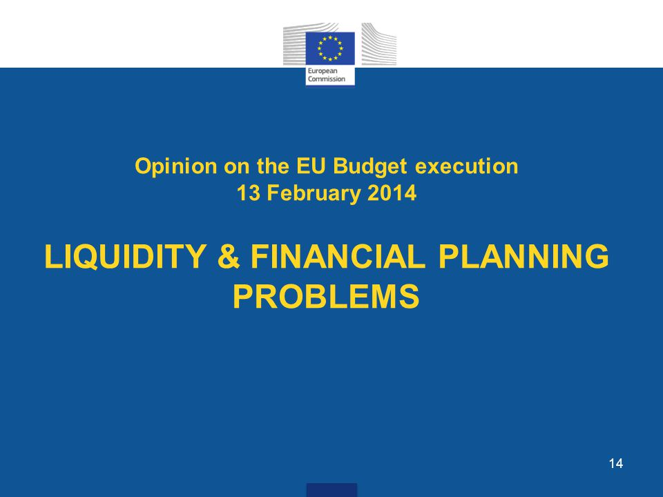 14 Opinion on the EU Budget execution 13 February 2014 LIQUIDITY & FINANCIAL PLANNING PROBLEMS