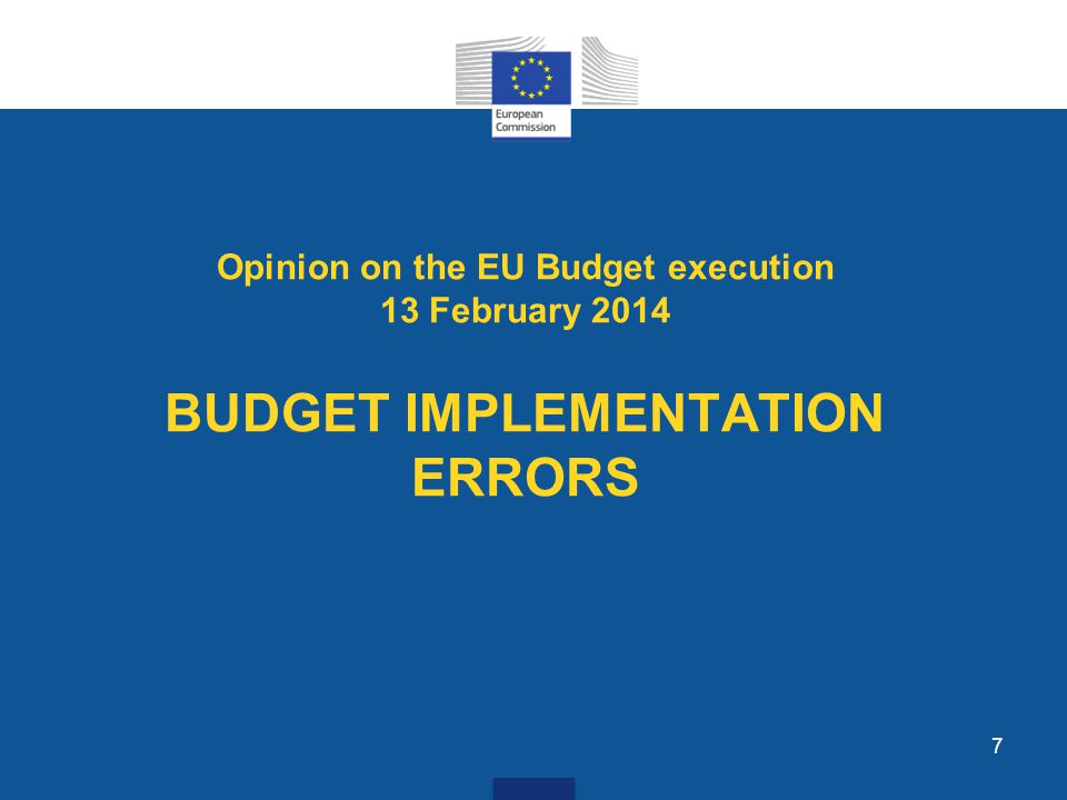7 Opinion on the EU Budget execution 13 February 2014 BUDGET IMPLEMENTATION ERRORS
