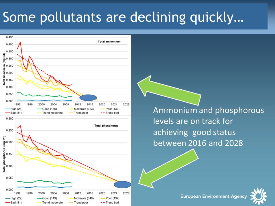 Some pollutants are declining quickly… Ammonium and phosphorous levels are on track for achieving good status between 2016 and 2028