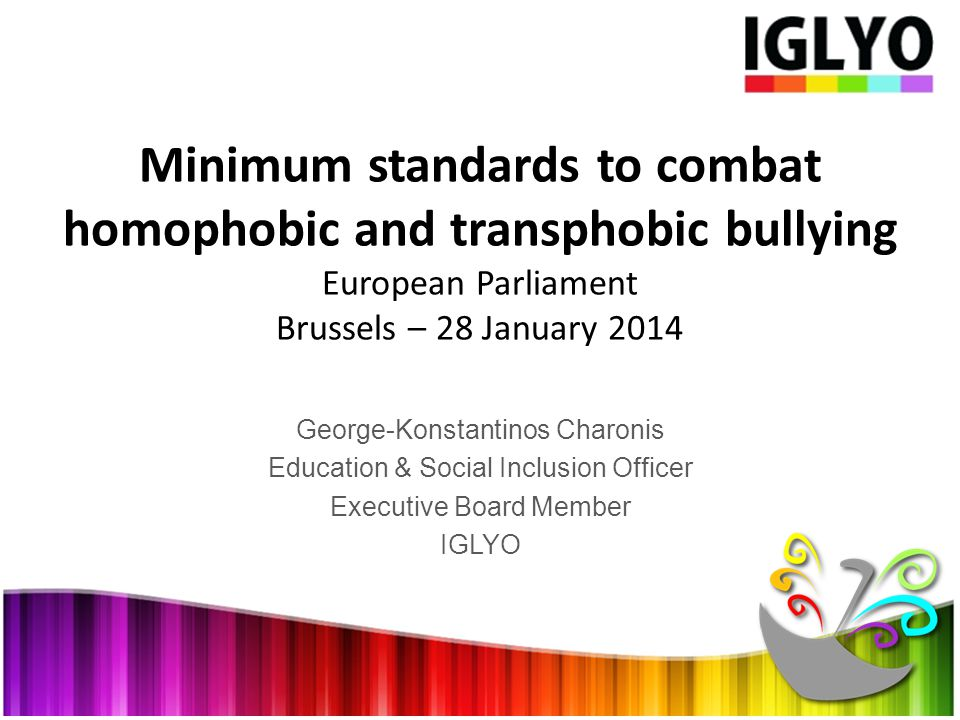 George-Konstantinos Charonis Education & Social Inclusion Officer Executive Board Member IGLYO Minimum standards to combat homophobic and transphobic bullying European Parliament Brussels – 28 January 2014